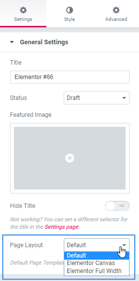 Change Page Layout In Elementor