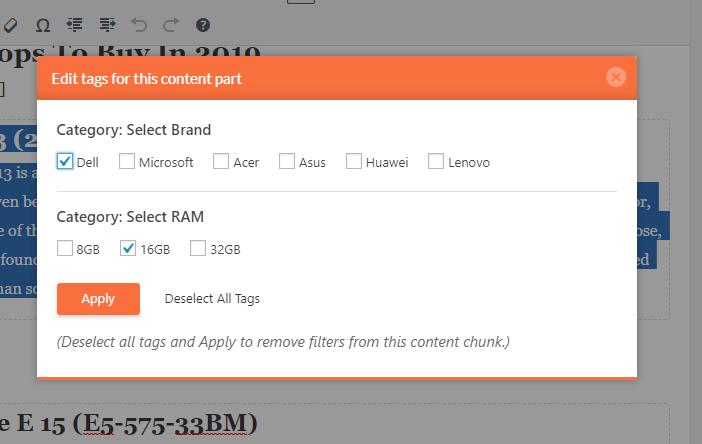 Edit Filter Tags - SCF