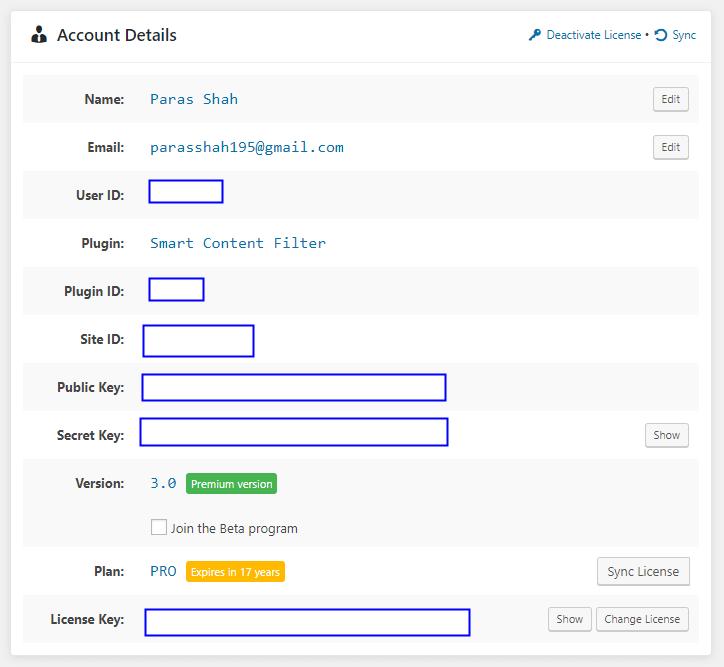 SCF - Account Details
