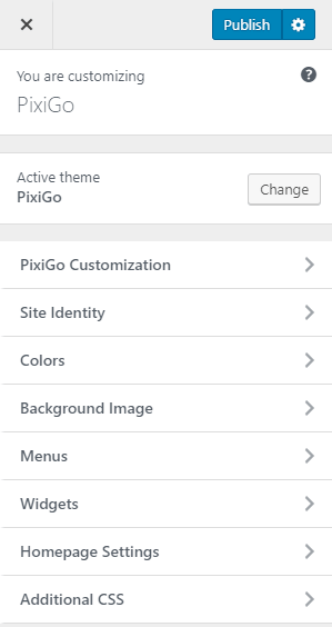 PixiGo - Theme Customizer