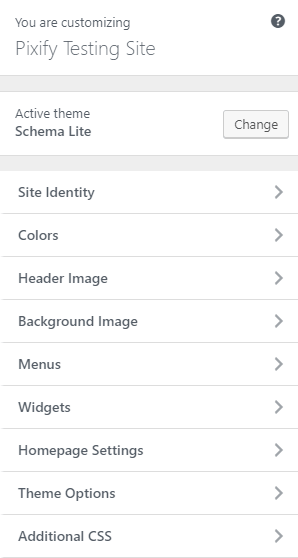 Schema Lite - Theme Customizer