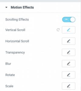 Elementor - Motion Scrolling Effects