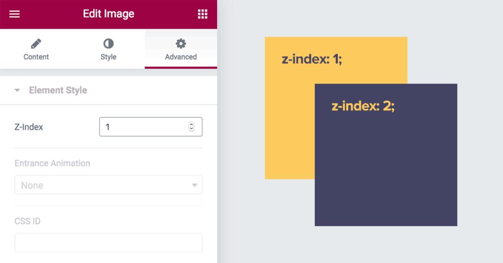 Elementor - Z-Index