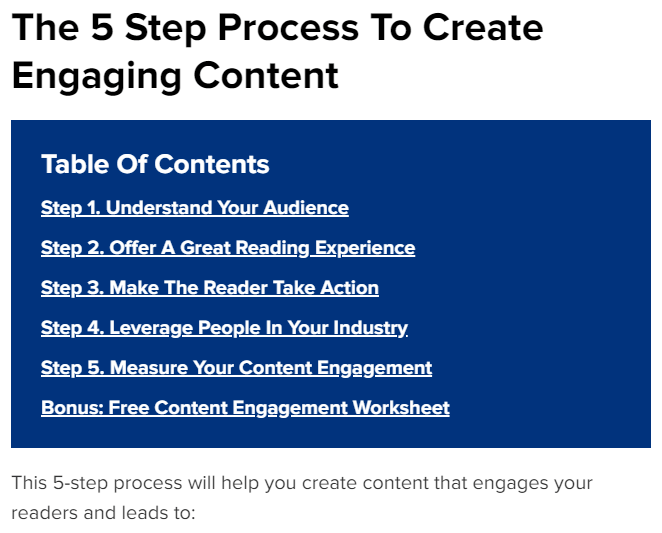 Engaging Content - Jump Links