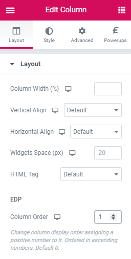 EDP - Column Order
