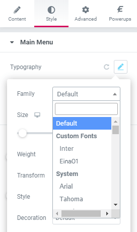Elementor Page Builder - Select Custom Fonts