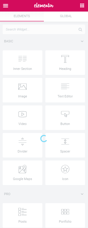 Elementor Widget Panel - Endless Loading