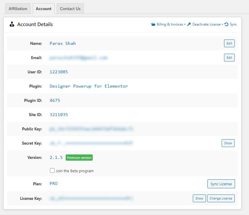 Designer Powerup - Account Details