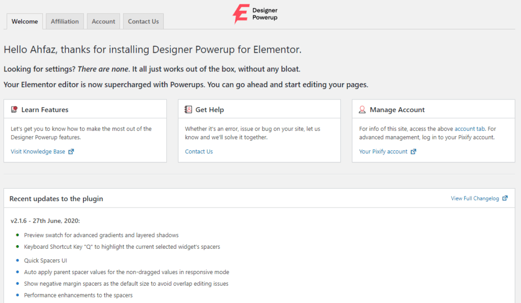 Designer Powerup - Plugin Settings