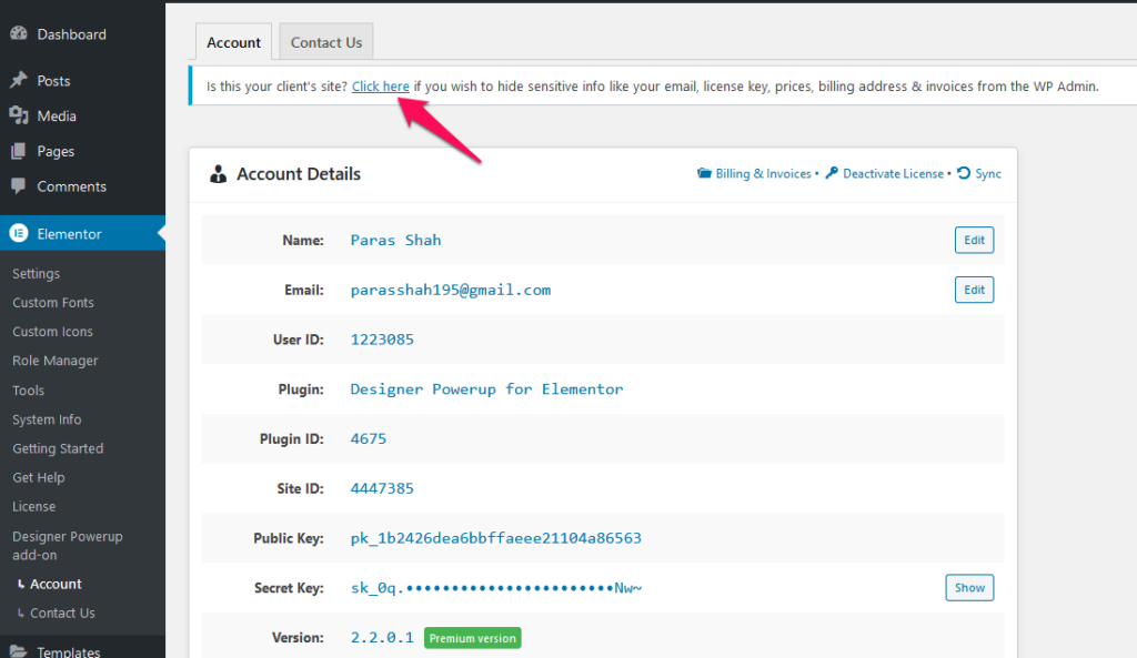Hide Account Details From Client Websites